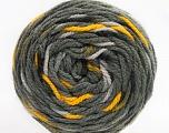 Fiber Content 80% Acrylic, 20% Polyamide, Yellow, Brand ICE, Grey Shades, Yarn Thickness 4 Medium  Worsted, Afghan, Aran, fnt2-53203
