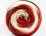 Fiber Content 90% Acrylic, 10% Polyamide, White, Red Shades, Orange Shades, Brand ICE, Yarn Thickness 4 Medium  Worsted, Afghan, Aran, fnt2-54527