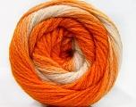 Fiber Content 90% Acrylic, 10% Polyamide, White, Orange Shades, Brand ICE, Yarn Thickness 4 Medium  Worsted, Afghan, Aran, fnt2-58124