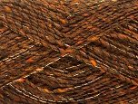 Fiber Content 7% Metallic Lurex, 53% Acrylic, 5% Polyamide, 5% Viscose, 30% Wool, Brand ICE, Brown, fnt2-58221