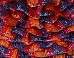 A new scarf yarn. It looks like a regular tape, but when knitted it gives you a frilly pattern. Excellent for scarfs and trims. Fiber Content 80% Acrylic, 5% Polyester, 15% Lurex, Silver, Red, Purple, Orange, Brand Ice Yarns, Yarn Thickness 6 SuperBulky  Bulky, Roving, fnt2-20995