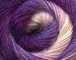 Fiber Content 55% Acrylic, 45% Angora, White, Purple, Lilac, Brand Ice Yarns, Yarn Thickness 2 Fine  Sport, Baby, fnt2-26936