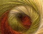 Fiber Content 55% Acrylic, 45% Angora, Brand Ice Yarns, Green, Cream, Brown, Yarn Thickness 2 Fine  Sport, Baby, fnt2-26940