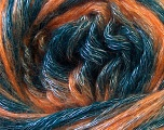 Fiber Content 50% Polyester, 30% Acrylic, 20% Wool, Teal, Orange, Brand Ice Yarns, Yarn Thickness 4 Medium  Worsted, Afghan, Aran, fnt2-31338
