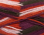 Fiber Content 80% Acrylic, 20% Wool, Purple, Orange, Light Pink, Brand ICE, Brown, Yarn Thickness 3 Light  DK, Light, Worsted, fnt2-41277