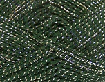 Fiber Content 36% Acrylic, 19% Metallic Lurex, 16% Alpaca, 16% Wool, 13% Viscose, Brand ICE, Gold, Dark Green, Yarn Thickness 3 Light  DK, Light, Worsted, fnt2-41416