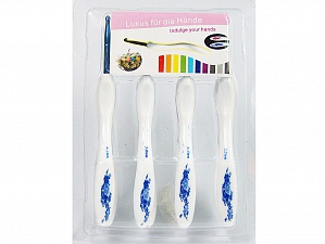 A set of 8 crochet hooks. Sizes: 2.5mm, 3mm, 3.5mm, 4mm, 4.5mm, 5mm, 5.5mm, 6mm White, Brand ICE, acs-1163