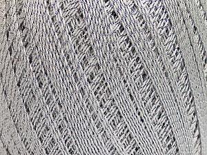 Ne: 10/3 Nm: 17/3 Fiber Content 96% Mercerised Cotton, 4% Metallic Lurex, Silver, Light Grey, Brand ICE, Yarn Thickness 1 SuperFine  Sock, Fingering, Baby, fnt2-49853