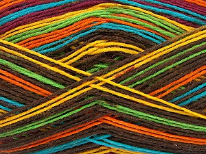 Fiber Content 75% Superwash Wool, 25% Polyamide, Yellow, Turquoise, Orange, Brand ICE, Green, Dark Brown, Yarn Thickness 1 SuperFine  Sock, Fingering, Baby, fnt2-51911