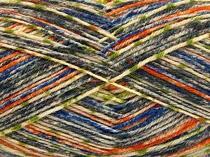 Fiber Content 75% Superwash Wool, 25% Polyamide, Orange, Brand ICE, Grey, Green, Cream, Blue, Yarn Thickness 1 SuperFine  Sock, Fingering, Baby, fnt2-52156