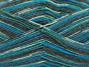 Fiber Content 50% Superwash Merino Wool, 25% Bamboo, 25% Polyamide, Turquoise, Brand ICE, Grey, Blue, Yarn Thickness 1 SuperFine  Sock, Fingering, Baby, fnt2-52243