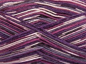 Fiber Content 50% Superwash Merino Wool, 25% Bamboo, 25% Polyamide, Purple Shades, Brand ICE, Yarn Thickness 1 SuperFine  Sock, Fingering, Baby, fnt2-52390