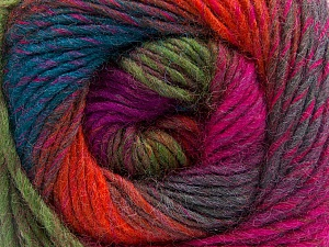 Fiber Content 70% Dralon, 30% Wool, Purple, Orange, Brand ICE, Green, Fuchsia, Blue, Yarn Thickness 4 Medium  Worsted, Afghan, Aran, fnt2-52568