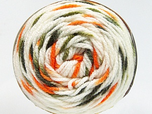 Fiber Content 80% Acrylic, 20% Polyamide, White, Orange, Brand ICE, Green Shades, Yarn Thickness 4 Medium  Worsted, Afghan, Aran, fnt2-53200