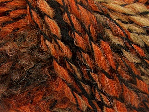 Please note that this is a self-striping yarn and self-effecting. Please see knitted sample to see the color and effect variation. Fiber Content 38% Wool, 32% Acrylic, 20% Alpaca, 10% Polyamide, Orange, Brand ICE, Camel, Brown Shades, Black, Yarn Thickness 4 Medium  Worsted, Afghan, Aran, fnt2-53375