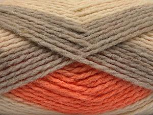 Fiber Content 70% Acrylic, 30% Wool, Orange, Brand ICE, Grey, Cream, Yarn Thickness 4 Medium  Worsted, Afghan, Aran, fnt2-53554