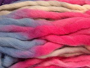 Fiber Content 100% Superwash Wool, Purple, Pink, Light Salmon, Light Blue, Brand ICE, Yarn Thickness 6 SuperBulky  Bulky, Roving, fnt2-53577