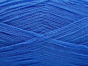 Very thin yarn. It is spinned as two threads. So you will knit as two threads. Yardage information is for only one strand. Fiber Content 100% Acrylic, Brand ICE, Blue, Yarn Thickness 1 SuperFine  Sock, Fingering, Baby, fnt2-53761