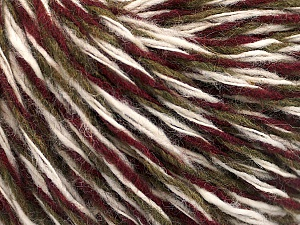 Fiber Content 50% Acrylic, 50% Wool, Brand ICE, Dark Khaki, Cream, Burgundy, Yarn Thickness 3 Light  DK, Light, Worsted, fnt2-53962