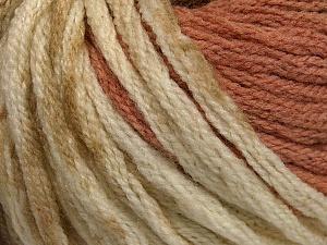 Fiber Content 50% Acrylic, 50% Wool, Light Salmon, Khaki, Brand ICE, Cream, Yarn Thickness 6 SuperBulky  Bulky, Roving, fnt2-54381