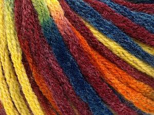 Fiber Content 50% Acrylic, 50% Wool, Yellow, Orange, Brand ICE, Burgundy, Blue, Yarn Thickness 6 SuperBulky  Bulky, Roving, fnt2-54388