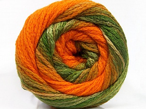 Fiber Content 90% Acrylic, 10% Polyamide, Orange, Brand ICE, Green Shades, Yarn Thickness 4 Medium  Worsted, Afghan, Aran, fnt2-54528