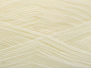 Very thin yarn. It is spinned as two threads. So you will knit as two threads. Yardage information is for only one strand. Fiber Content 100% Acrylic, Light Cream, Brand Ice Yarns, Yarn Thickness 1 SuperFine  Sock, Fingering, Baby, fnt2-54683