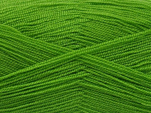 Very thin yarn. It is spinned as two threads. So you will knit as two threads. Yardage information is for only one strand. Fiber Content 100% Acrylic, Brand ICE, Green, Yarn Thickness 1 SuperFine  Sock, Fingering, Baby, fnt2-54687