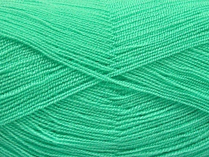 Very thin yarn. It is spinned as two threads. So you will knit as two threads. Yardage information is for only one strand. Fiber Content 100% Acrylic, Mint Green, Brand ICE, Yarn Thickness 1 SuperFine  Sock, Fingering, Baby, fnt2-54691