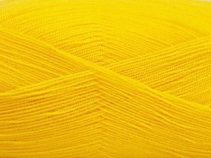 Very thin yarn. It is spinned as two threads. So you will knit as two threads. Yardage information is for only one strand. Fiber Content 100% Acrylic, Brand ICE, Dark Yellow, Yarn Thickness 1 SuperFine  Sock, Fingering, Baby, fnt2-54696