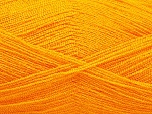 Very thin yarn. It is spinned as two threads. So you will knit as two threads. Yardage information is for only one strand. Fiber Content 100% Acrylic, Light Orange, Brand ICE, Yarn Thickness 1 SuperFine  Sock, Fingering, Baby, fnt2-54702