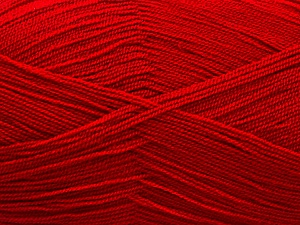 Very thin yarn. It is spinned as two threads. So you will knit as two threads. Yardage information is for only one strand. Fiber Content 100% Acrylic, Tomato Red, Brand ICE, Yarn Thickness 1 SuperFine  Sock, Fingering, Baby, fnt2-54704