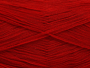 Very thin yarn. It is spinned as two threads. So you will knit as two threads. Yardage information is for only one strand. Fiber Content 100% Acrylic, Red, Brand ICE, Yarn Thickness 1 SuperFine  Sock, Fingering, Baby, fnt2-54706