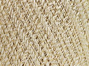 Ne: 10/3 Nm: 17/3 Fiber Content 96% Mercerised Cotton, 4% Metallic Lurex, Brand ICE, Gold, Cream, Yarn Thickness 1 SuperFine  Sock, Fingering, Baby, fnt2-54758