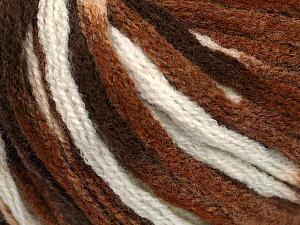 Fiber Content 50% Wool, 50% Acrylic, White, Brand ICE, Brown Shades, Yarn Thickness 6 SuperBulky  Bulky, Roving, fnt2-54765