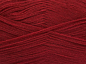 Very thin yarn. It is spinned as two threads. So you will knit as two threads. Yardage information is for only one strand. Fiber Content 100% Acrylic, Brand ICE, Burgundy, Yarn Thickness 1 SuperFine  Sock, Fingering, Baby, fnt2-54875