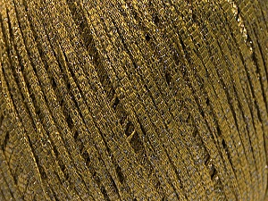 Fiber Content 68% Viscose, 32% Metallic Lurex, Khaki, Brand ICE, Yarn Thickness 3 Light  DK, Light, Worsted, fnt2-54901