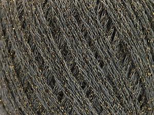 Fiber Content 40% Acrylic, 40% Wool, 20% Metallic Lurex, Brand ICE, Grey, Gold, Yarn Thickness 3 Light  DK, Light, Worsted, fnt2-55278