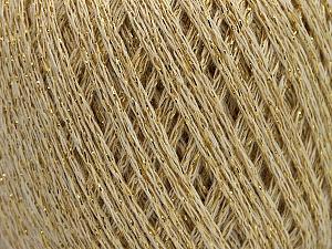 Fiber Content 40% Acrylic, 40% Wool, 20% Metallic Lurex, Brand ICE, Gold, Cream, Yarn Thickness 3 Light  DK, Light, Worsted, fnt2-55280