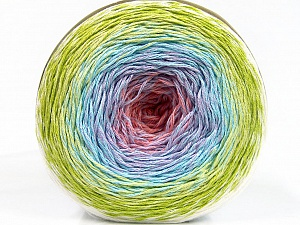 Fiber Content 50% Acrylic, 50% Cotton, White, Salmon, Lilac, Light Blue, Brand ICE, Green Shades, Yarn Thickness 2 Fine  Sport, Baby, fnt2-55319