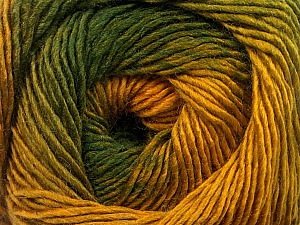 Fiber Content 50% Wool, 50% Acrylic, Brand ICE, Green Shades, Gold, Yarn Thickness 2 Fine  Sport, Baby, fnt2-55459