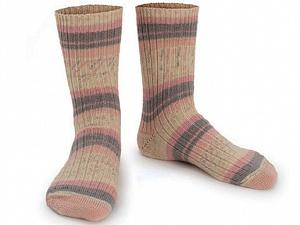 Fiber Content 75% Superwash Wool, 25% Polyamide, Light Salmon, Brand ICE, Grey, Cream, Yarn Thickness 1 SuperFine  Sock, Fingering, Baby, fnt2-55539