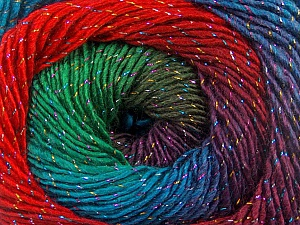Fiber Content 48% Wool, 48% Acrylic, 4% Metallic Lurex, Red, Purple, Brand ICE, Green, Blue, Yarn Thickness 2 Fine  Sport, Baby, fnt2-55570