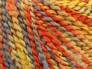 Fiber Content 82% Acrylic, 8% Polyamide, 10% Polyester, Yellow, Orange, Light Grey, Brand ICE, Yarn Thickness 4 Medium  Worsted, Afghan, Aran, fnt2-55647