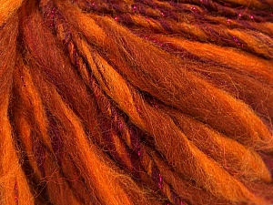 Fiber Content 45% Wool, 25% Acrylic, 20% Alpaca, 10% Metallic Lurex, Orange Shades, Maroon, Brand ICE, Yarn Thickness 5 Bulky  Chunky, Craft, Rug, fnt2-56983