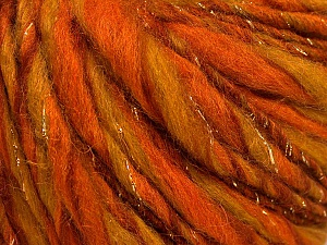 Fiber Content 45% Wool, 25% Acrylic, 20% Alpaca, 10% Metallic Lurex, Orange, Olive Green, Brand ICE, Gold, Yarn Thickness 5 Bulky  Chunky, Craft, Rug, fnt2-56984