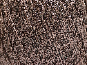 Fiber Content 85% Viscose, 15% Metallic Lurex, Brand ICE, Camel, Brown, Yarn Thickness 3 Light  DK, Light, Worsted, fnt2-57033