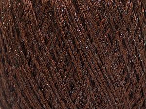 Fiber Content 85% Viscose, 25% Metallic Lurex, Brand ICE, Dark Brown, Yarn Thickness 3 Light  DK, Light, Worsted, fnt2-57034