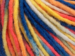 Fiber Content 60% Acrylic, 40% Wool, Yellow, White, Salmon, Brand ICE, Blue, Yarn Thickness 5 Bulky  Chunky, Craft, Rug, fnt2-57249