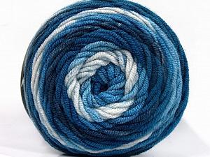 Fiber Content 100% Acrylic, White, Brand ICE, Blue Shades, Yarn Thickness 4 Medium  Worsted, Afghan, Aran, fnt2-58024